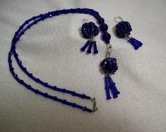 Cobalt Blue Necklace Lanyard & Earring Set