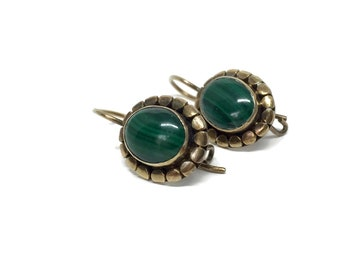 Malachite Earrings Sterling Silver with Gold Wash