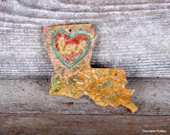 Louisiana Ornament. Handmade Ceramic Clay Ornament.  State of Louisiana Ornament.