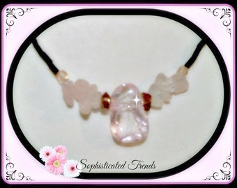 Dazzling Crystal Pink and Rose Quartz Necklace