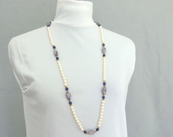 Pearl / Blue Stone Necklace, 36 Inch Vintage Beaded Necklace