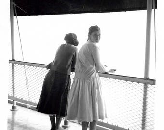 """Vintage Snapshot """"Class Trip"""" Teenage Girls 3/4 View Back To Camera Composition 1950's Found Vernacular Photo"""
