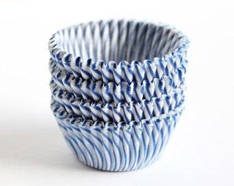 Blue Striped Mini Cupcake Liners (60)