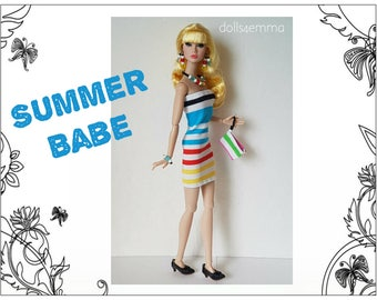 Poppy Parker Doll Clothes - SUMMER BABE Sexy Summer Dress, Purse and Jewelry Set - Custom Fashion - by dolls4emma