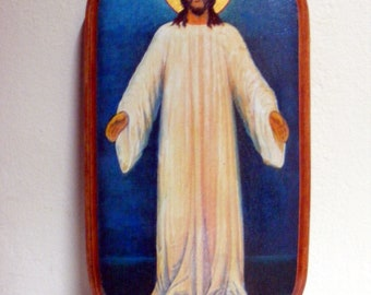 Gift for Easter -  Jesus in white robes, icons hand-painted hot colors directly on the solid wood