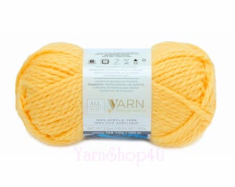YELLOW Bulky Yarn. All Things You Premium Acrylic. Solid Yellow; this is a Golden Yellow Color. Soft Bulky Yarn. Same as Charisma Yellow.