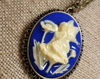 Blue Fairy Cameo Pendant