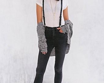 "JAKIMAC Women's Black Leather Suspenders / 3/4"" Wide Genuine Leather Adjustable Suspenders"