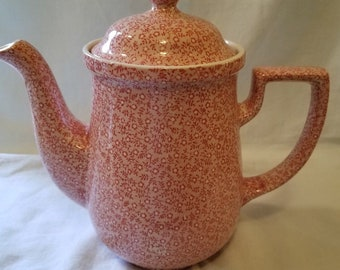 Vintage Royal Crownford Pink Country Chintz Staffordshire England Coffee Pot