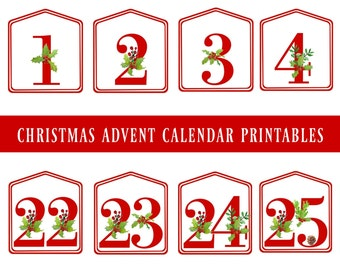 DIY Christmas Advent Calendar Red Printable Numbers 1 - 25, Digital Download, Christmas Countdown, Advent Number Tags, Advent Bag Tags