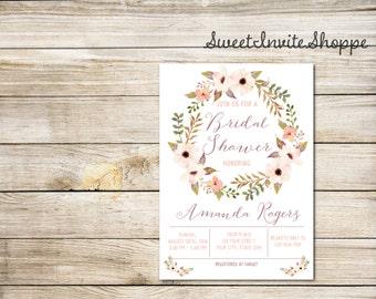 Floral Wreath Bridal Shower Invitation, Watercolor Boho Flowers Invitation, Anemone Flowers Bridal Shower Invitation, Floral Invitation