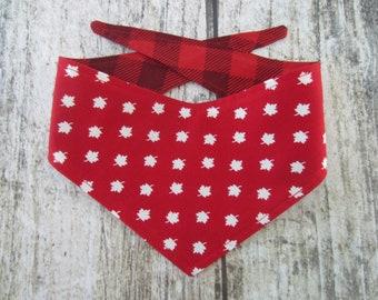 XS reversible tie on dog bandana - red white maple leaf/red buffalo plaid Kanine Kerchief