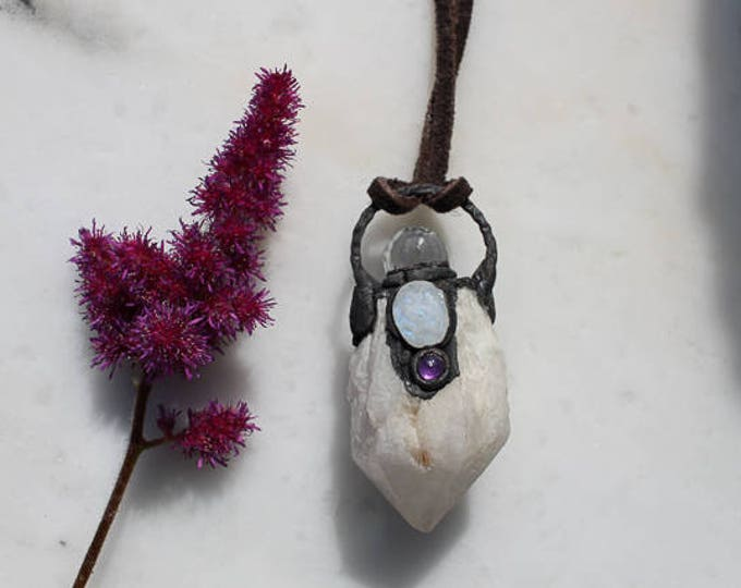 Candle Quartz, Moonstone and Amethyst electroformed necklace, boho jewerly, wiccan necklace, gypsy pendant