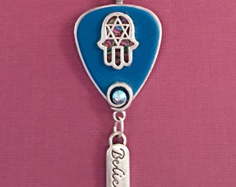 """Guitar Pick Pendant """"Lay Down Your Weary Tune"""""""