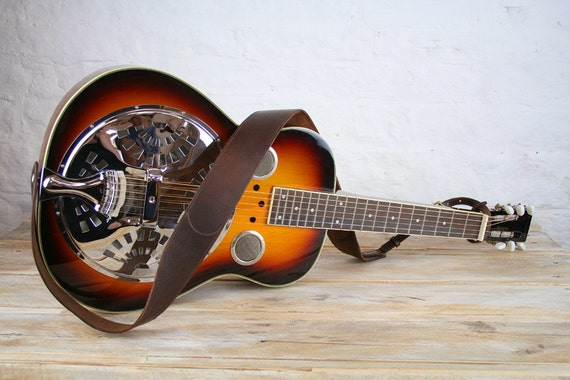 Leather Dobro Guitar Strap, 60mm width, Dobro strap, Traditional Dobro Strap, Dobro belt, slide guitar strap, DS45