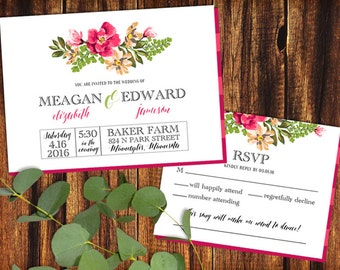 Wedding Invitation and RSVP Card - Bright Floral  - Printable or Print Options