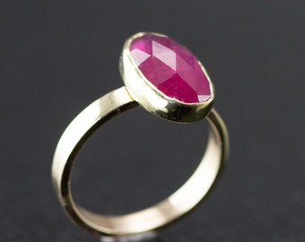 Ruby Ring -  Rose Cut Ruby in Yellow Gold - Ruby Statement Ring - July Birthstone Ring