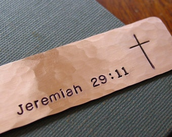 Bible Verse Bookmark, Cross Bookmark, Stamped Copper, Hand Stamped, Religious Gift, Christian Gifts, Confirmation, First Communion Gift