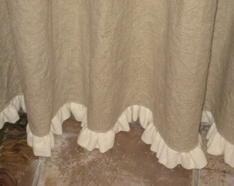 """Ruffled Linen Shower Curtain-Lined Shower Curtain with 1"""" Ruffled Hem-Your Linen Color Choice"""