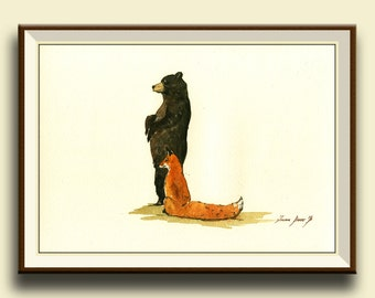 PRINT-Letter L Black bear Red Fox- Woodland Forest animal Alphabet letters watercolor print  - Art Print by Juan Bosco