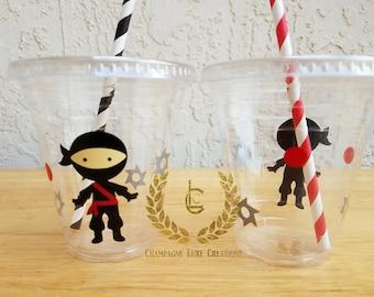 Ninja Party Cups, Ninja Party Favor Cups (Set of 12)- Ninja Party Cups, Birthday Party Cups, Party Decor, Ninja Party, Ninja Party Cup
