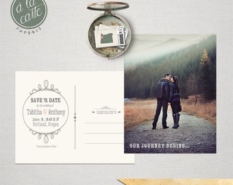 Save the Date Postcard Woodland Mountain Walk Rustic save the date mountain wedding DEPOSIT PAYMENT