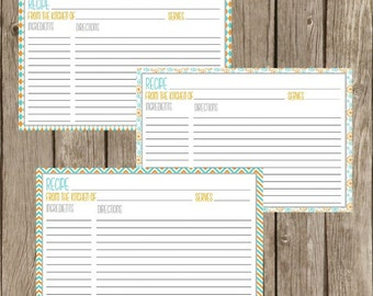 Recipe Cards Printable Instant Download Teal & Gold 2