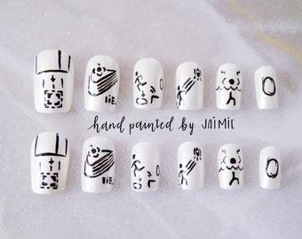 Portal, Portal 2, Companion Cube, Nail Set, Hand Painted False Nails