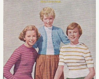 ON SALE Paton's Knitting Pattern No 410  for Girls aged 5  to 15 years  - Vintage 1950s, Jumpers, Cardigans, Sweaters, Jackets