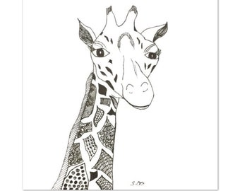 Giraffe drawing, Black and white nursery art, Pen and Ink drawing, Original nursery art, zentangle art, Whimsical art, animal drawing