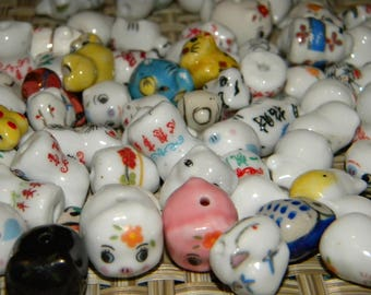 New 20/pc Ceramic mixed beads different shapes & colors Animal beads lot, loose beads