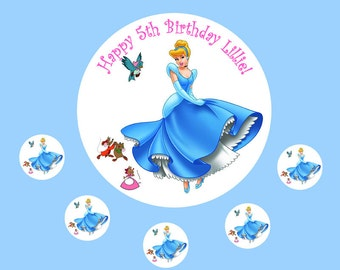 Cinderella Princess personalised Cake Topper Edible Wafer Paper 7.5""