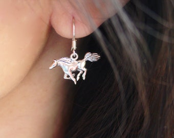Mustang Horse Earrings Sterling Silver, Equestrian Jewelry Horse Necklace Horse Earrings