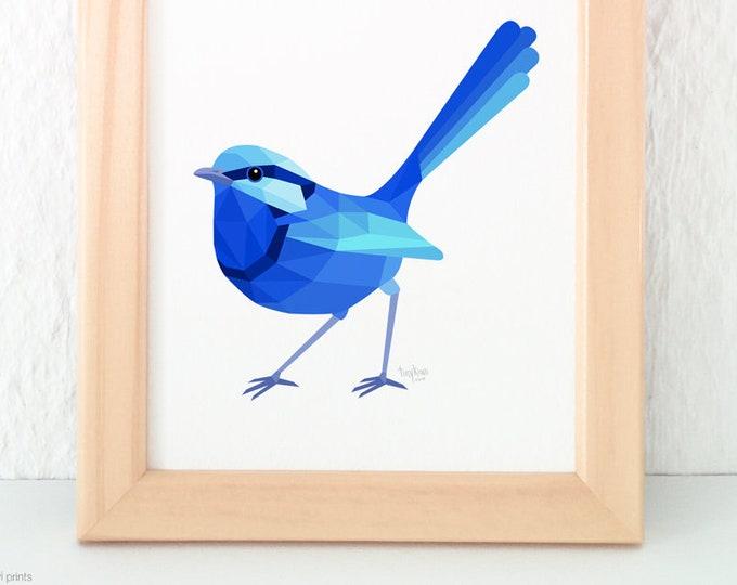 Blue wren illustration, Fairy wren illustration, Male wren, Geometric wren, Australian wildlife, Australian bird art, Blue bird wall art