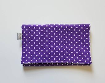 Purple Polka Dot Cotton Burp Cloth; Baby Girl Burp Cloth; Purple Burp Cloth