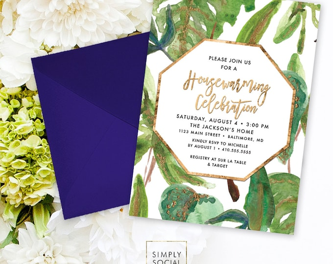 Housewarming Party Invitation - Faux Gold Foil Modern Calligraphy Big Leaf Botanical Classy Black and White New Home New House Printable