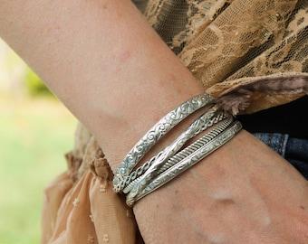 Rope Pattern Silver Cuff Bracelet