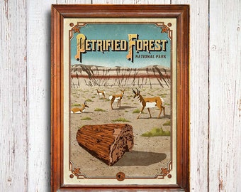 Petrified Forest poster, Petrified Forest National Park print, petrified wood , Petrified Forest print, wood art print, Petrified poster