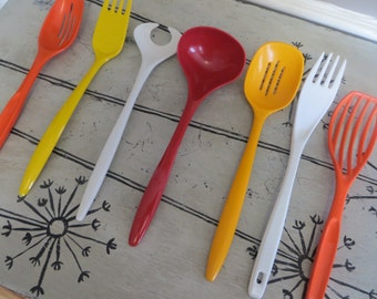Kitchen Utensils Slotted Spoon Foley Orange and White Rosti Fork Red Hutzler Ladle Kitchen Serving  Melamine Ware Mixing Spoon