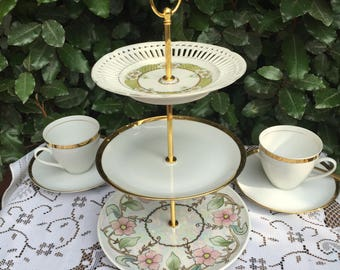 3 Tier cake stand. Mismatch plates. Tea party. Mad hatter. Wedding. Plate stand. Birthday. Baby shower. Afternoon tea plate. Hand made