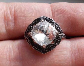 Solid sterling silver paste glass  oxidized Victorian style ring size 7 and 1/2