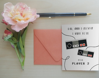 Father's Day Card, Gamer Dad, Gifts for Dad, Greeting Card for Dad, Father's Day Greeting Card: Player 2