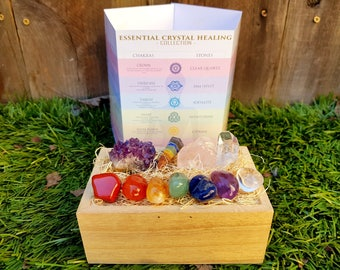 Crystals and Stones Set Tumble Stones + Healing Crystals Perfect Gift, Amethyst Cluster, Rose Quartz, Meditation, Reiki,  Energy Healing