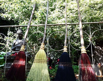 Natural Kitchen Broom  in your choice of Natural, Black, Rust or Mixed Broomcorn  - Shaker Broom For Sweeping
