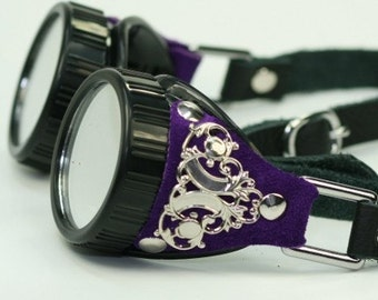 Steampunk Goggles Purple Leather and Silver Filigree