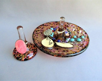 Hand Blown Glass Jewelry Tray and Ring Holder,Art Glass