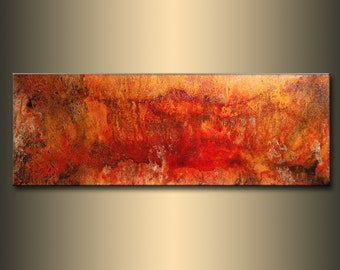 Original Abstract painting, Contemporary Modern Metallic Gold Fine Art, Canvas Art, by Henry Parsinia 48x18