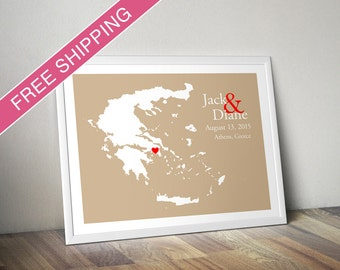Custom Wedding Gift : Personalized Wedding Location and Country Map Print - Greece - Engagement Gift, Wedding Guest Book