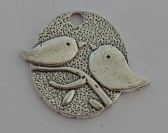 6 birds on branch silver 24x28mm antique pendants