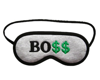 Like a boss sleep mask, Girl boss sleeping eye mask, Boss lady gift for nerd, Geek eyemask, Office party, Dollar sleepmask, Black grey green